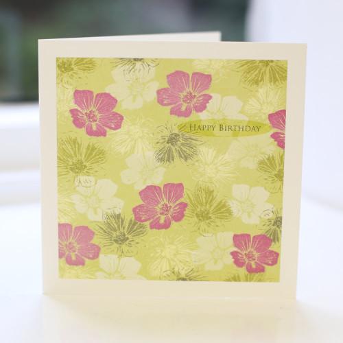 Jacky Al-Samarraie Lime Floral Birthday Card