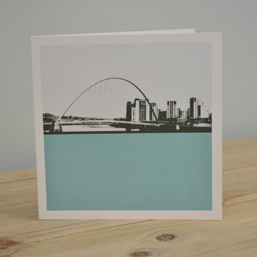 Jacky Al-Samarraie Millennium Bridge - Gateshead Blue Greeting Card