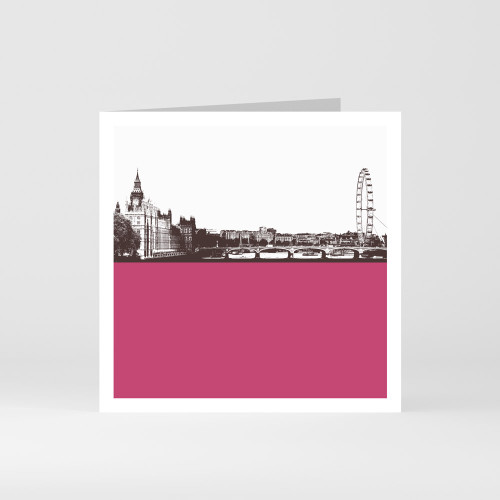 Jacky Al-Samarraie London Greeting Card of the skyline including London Eye and the Houses of Parliament