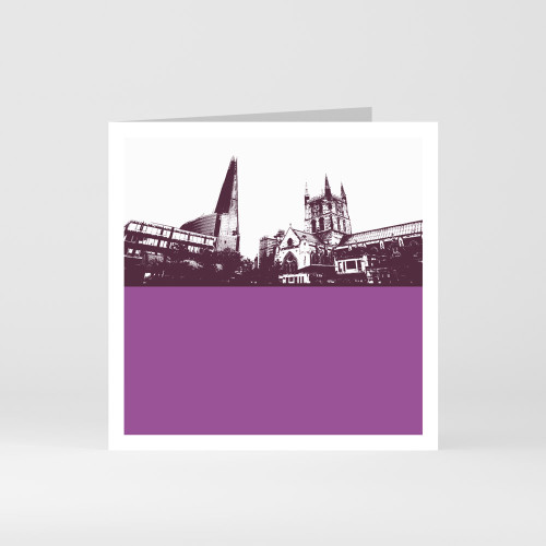 Jacky Al-Samarraie London Greeting Card of The Shard and Southwark Cathedral