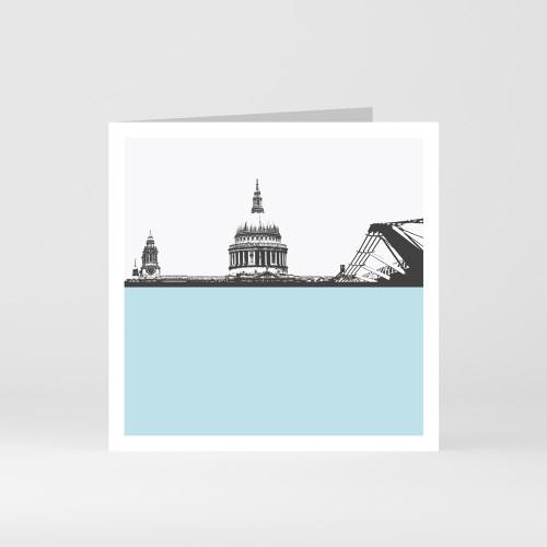 Jacky Al-Samarraie London Greeting Card of St Pauls Cathedral and Millennium Bridge