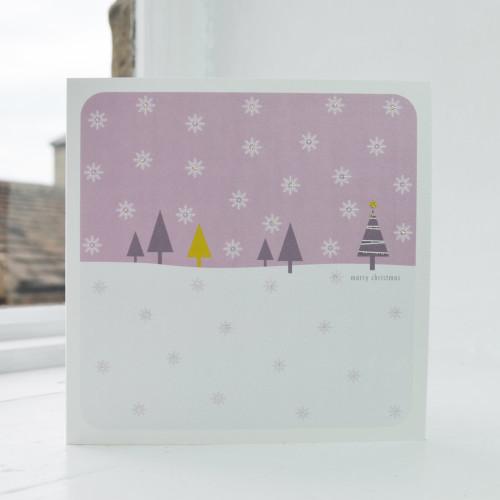 Jacky Al-Samarraie Snowfall - Pink Christmas Card