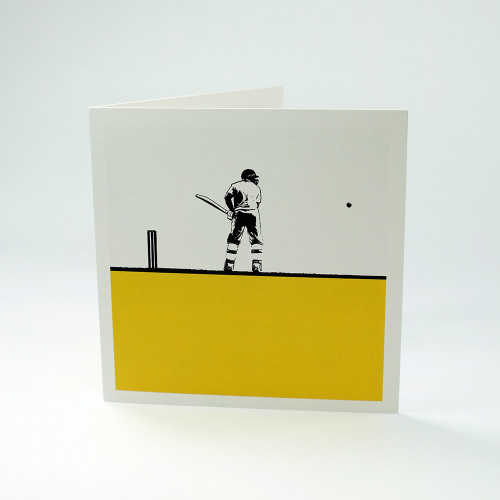 Cricketer greeting card by Jacky Al-Samarraie