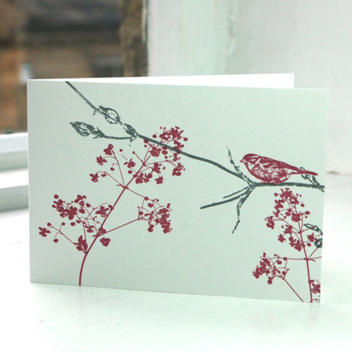 Jacky Al-Samarraie Garden Bird with Pink Flower Greeting Card
