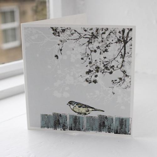 Jacky Al-Samarraie Bird Garden Bird on Fence Greeting Card