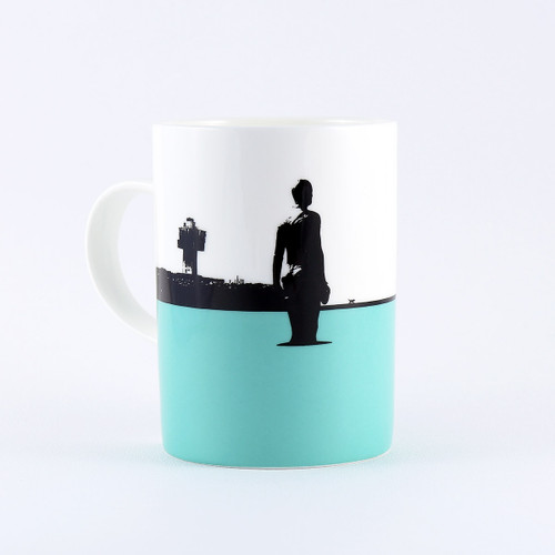 Crosby Beach Anthony Gormley sculptures, bone china mug by Jacky Al-Samarraie
