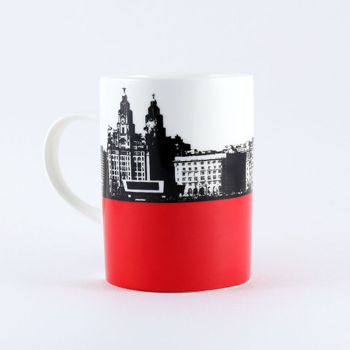 Liverpool skyline bone china mug by Jacky Al-Samarraie