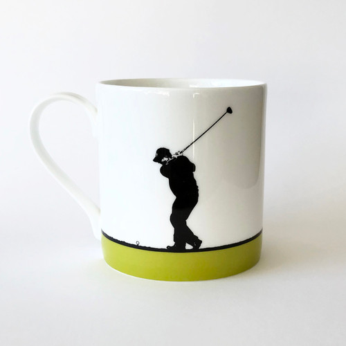 Golf sports bone china mug by Jacky Al-Samarraie