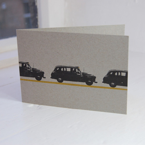 Jacky Al-Samarraie London Taxi Letterpress Greeting Card