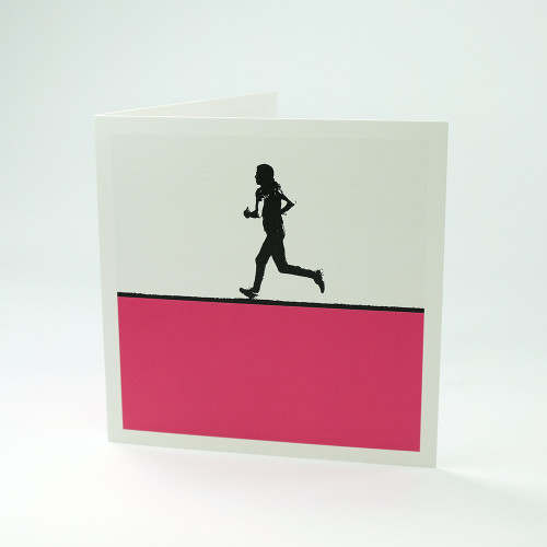 Female runner greeting card by Jacky Al-Samarraie
