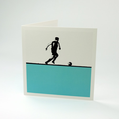 Footballer greeting card by Jacky Al-Samarraie