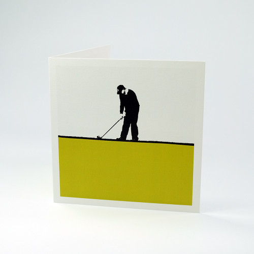 Golfer greeting card by Jacky Al-Samarraie