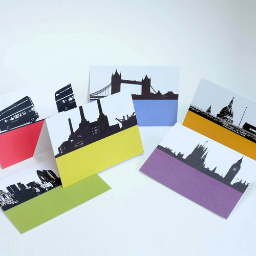 London Cityscape greeting card pack of 6 cards by Jacky Al-Samarraie Pack Two