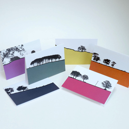 Rural British Landscape Greeting Card Pack Three by Jacky Al-Samarraie