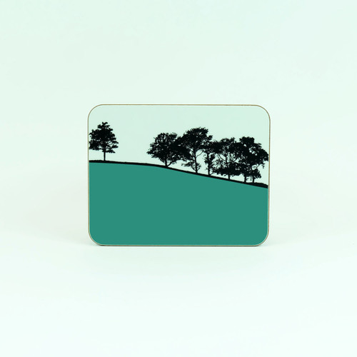 Teal melamine tree design drinks coaster. Troutbeck Lake District by Jacky Al-Samarraie. The Art Rooms