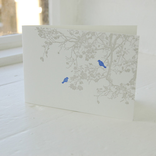 Jacky Al-Samarraie Birdsong Violet Letterpress Greeting Card