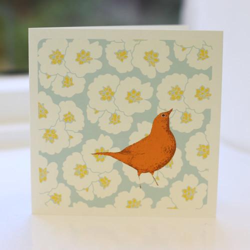 Jacky Al-Samarraie Song Thrush Duck Egg Greeting Card