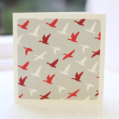 Jacky Al-Samarraie Flying Ducks Red Greeting Card