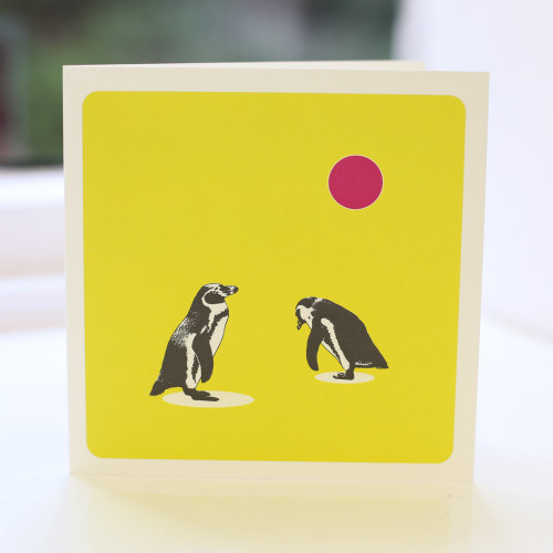 Jacky Al-Samarraie Penguins Lime Greeting Card