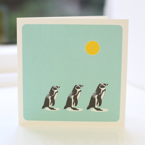 Jacky Al-Samarraie Penguins Turquoise Greeting Card