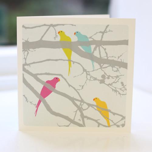 Jacky Al-Samarraie Parakeets Multi Greeting Card