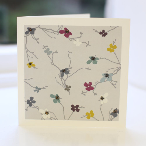 Jacky Al-Samarraie Blossom Grey Greeting Card