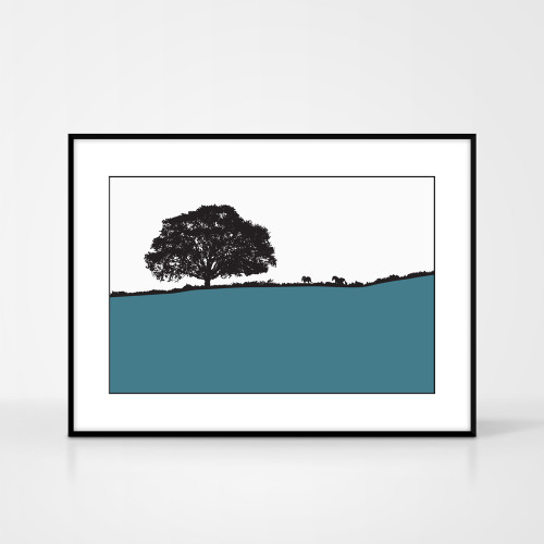 Landscape print of Avoca, County Wicklow, Ireland by designer Jacky Al-Samarraie.  The print colour is teal.  The print comes mounted but is shown in a frame for reference.