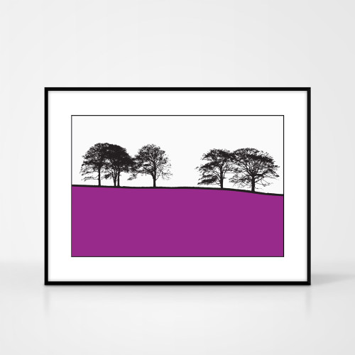 Landscape print of West Bretton, West Yorkshire by designer Jacky Al-Samarraie.  The print colour is pink.  The print comes mounted but is shown in a frame for reference.