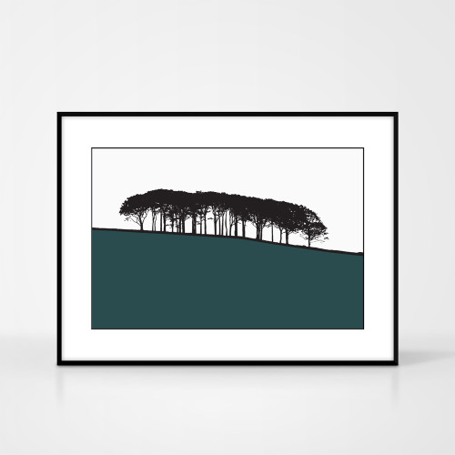 Landscape print of Guiseley, West Yorkshire by designer Jacky Al-Samarraie.  The print colour is green.  The print comes mounted but is shown in a frame for reference.