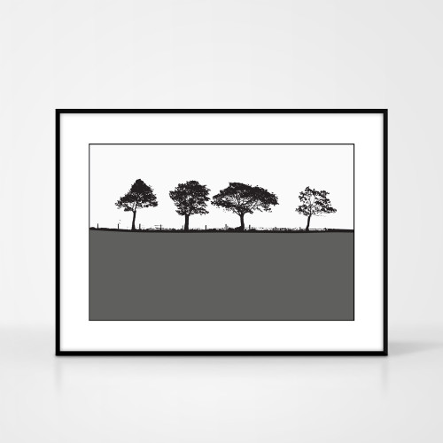 Landscape print of Harrogate, West Yorkshire by designer Jacky Al-Samarraie.  The print colour is grey.  The print comes mounted but is shown in a frame for reference.
