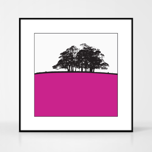 Landscape print of Trough of Bowland, Lancashire by designer Jacky Al-Samarraie.  The print colour is pink.  The print comes mounted but is shown in a frame for reference.