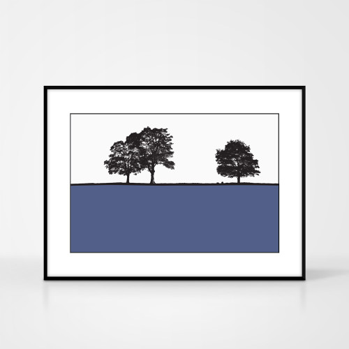 Landscape print of Ringinglow, Sheffield, Yorkshire by designer Jacky Al-Samarraie.  The print colour is blue.  The print  is shown in a frame for reference.