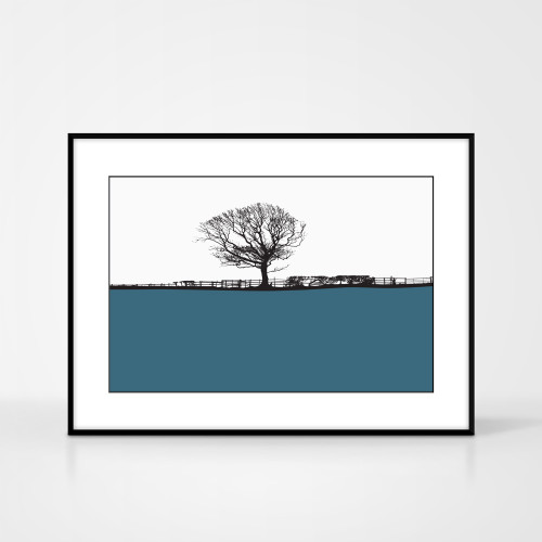 Landscape print of Whitby, Yorkshire by designer Jacky Al-Samarraie.  The print colour is teal.  The print is shown in a frame for reference.
