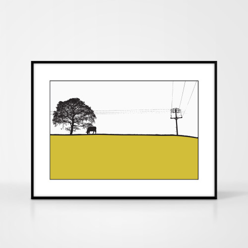 Landscape print of Yeadon, Yorkshire by designer Jacky Al-Samarraie.  The print colour is mustard.  The print comes mounted but is shown in a frame for reference.