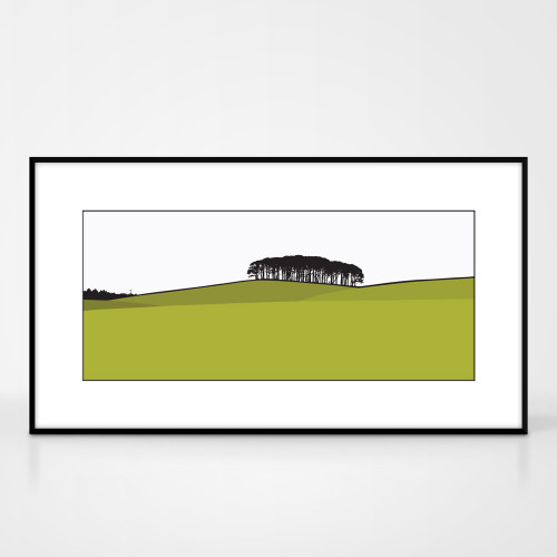 Landscape print of Laurieston in Dumfries and Galloway, Scotland by designer Jacky Al-Samarraie.  The print colour is green.  The print comes mounted but is shown in a frame for reference.