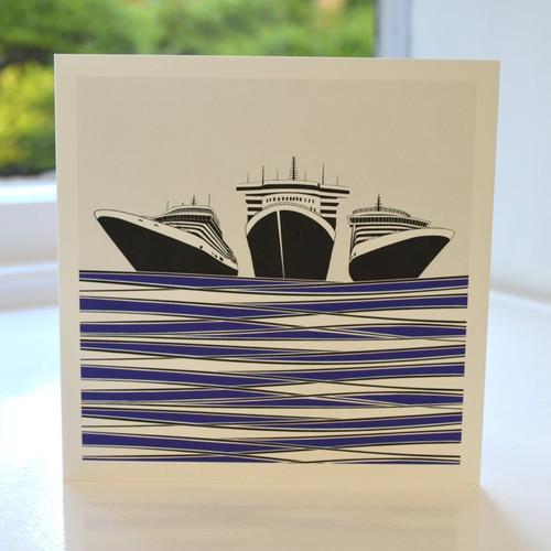 Jacky Al-Samarraie Ships Greeting Card - Blue