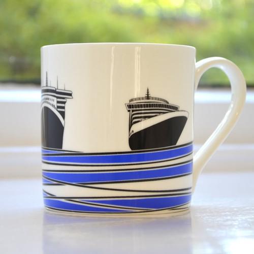Jacky Al-Samarraie Ships Bone China Mug - Blue
