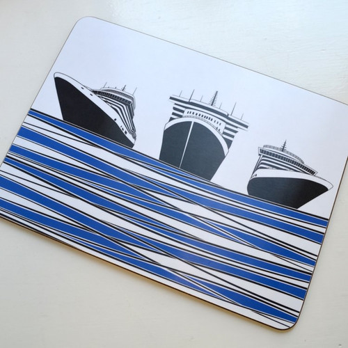 Jacky Al-Samarraie Ships Table Mat - Blue DISCONTINUED