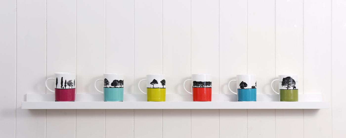 Designer landscape bone china mugs by Jacky Al-Samarraie at The Art Rooms