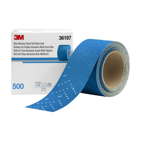 3M Hookit Blue Abrasive Sheet Roll Multi-hole 2.75 in x 13yd 500G