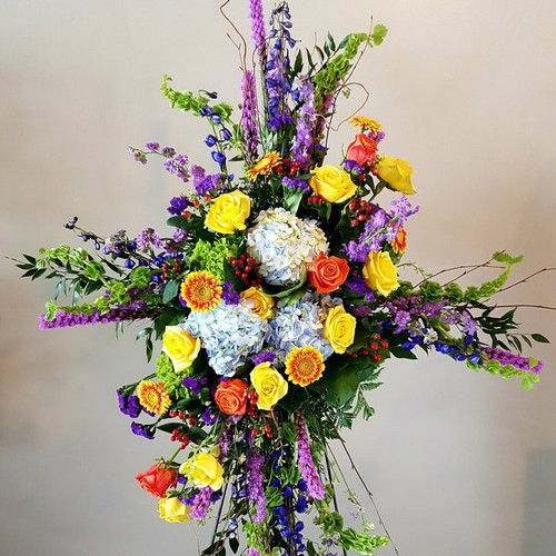 Colorful Tribute Standing Cross Sympathy Flowers Midwood Flower Shop | Charlotte Florist Delivery Service