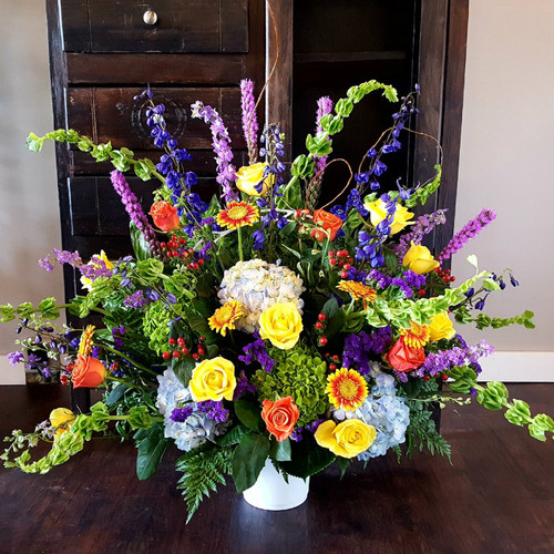 Colorful Tribute Flower Urn Sympathy Flowers Midwood Flower Shop | Charlotte Florist Delivery Service