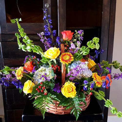 Colorful Tribute Flower Basket Sympathy Flowers Midwood Flower Shop | Charlotte Florist Delivery Service