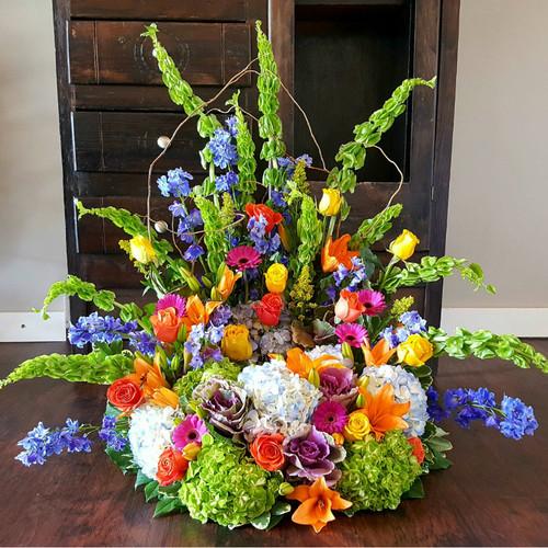 Colorful Tribute Urn Wreath Sympathy Flowers Midwood Flower Shop | Charlotte Florist Delivery Service