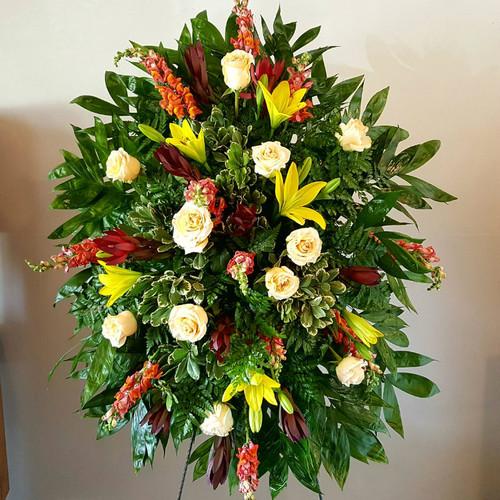 Sunset Tribute Spray Sympathy Flowers Midwood Flower Shop | Charlotte Florist Delivery Service