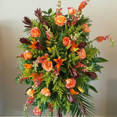 Harvest Blooms Standing Spray Sympathy Flowers Midwood Flower Shop | Charlotte Florist Delivery Service
