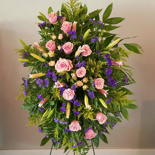 Forever Friend Standing Spray Sympathy Flowers Midwood Flower Shop | Charlotte Florist Delivery Service