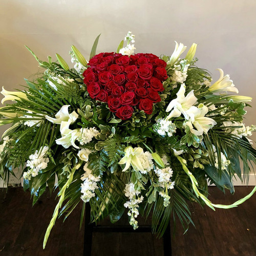 Forever In Our Heart Casket Spray Sympathy Flowers Midwood Flower Shop | Charlotte Florist Delivery Service