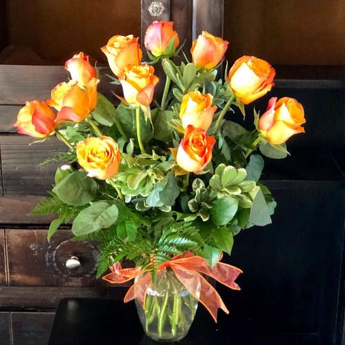 12 Orange Roses Shop By Occasion Midwood Flower Shop | Charlotte Florist Delivery Service