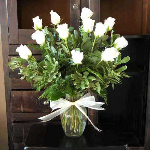 12 White Roses Get Well Flowers Midwood Flower Shop   Charlotte Florist Delivery Service
